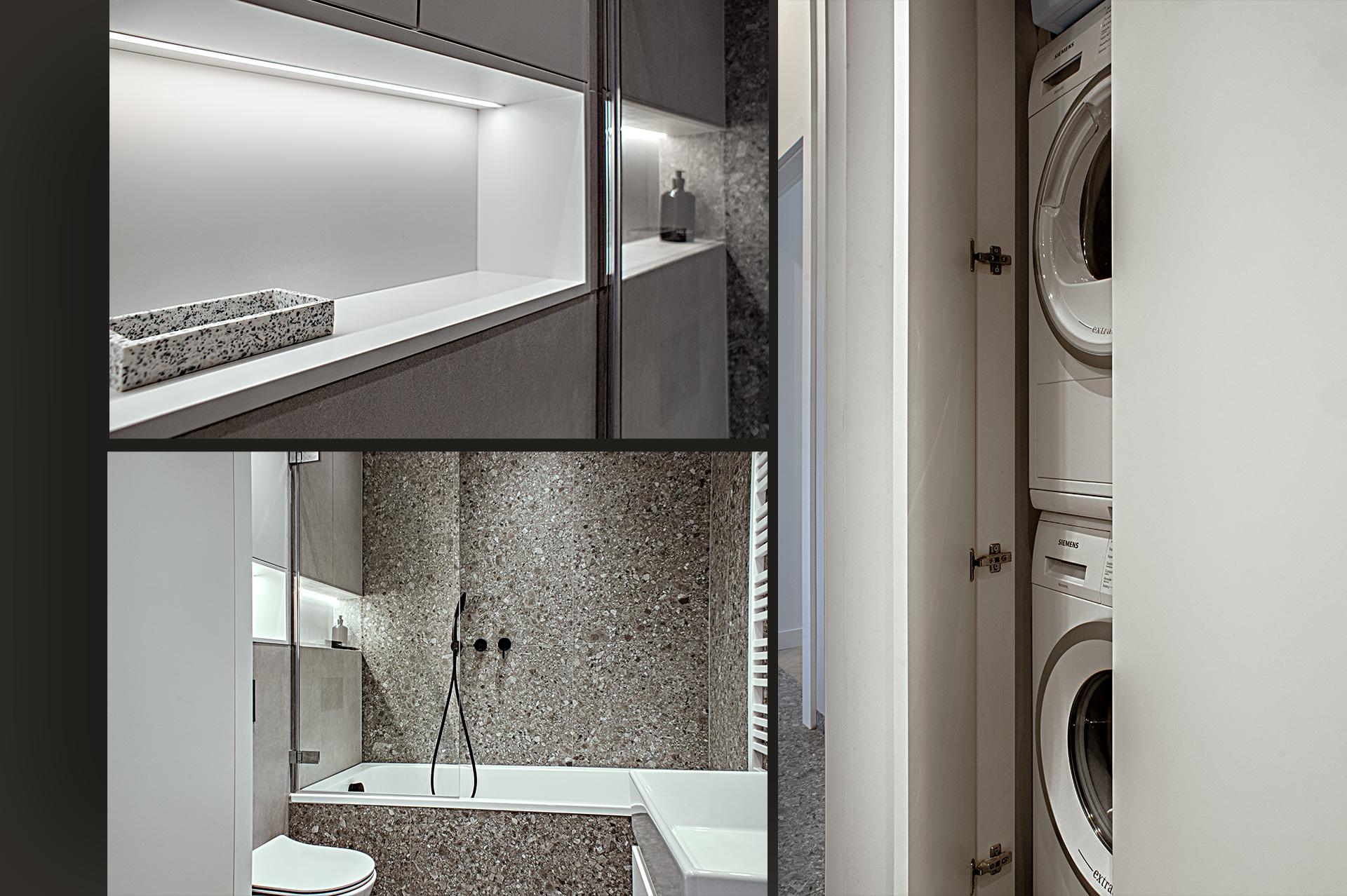 Mimo niewielkiej powierzchni, dzięki optymalnemu planowaniu, w łazience jest pod dostatkiem miejsca do przechowywania. Nawet pralka i suszarka zostały ukryte w szafie.