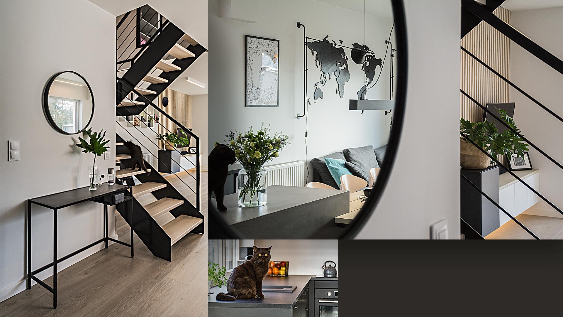 Dla młodego małżeństwa zaprojektowaliśmy wygodne, jasne wnętrz domu z zaakcentowaniem ich pasji: podróży, sportu i kotów.