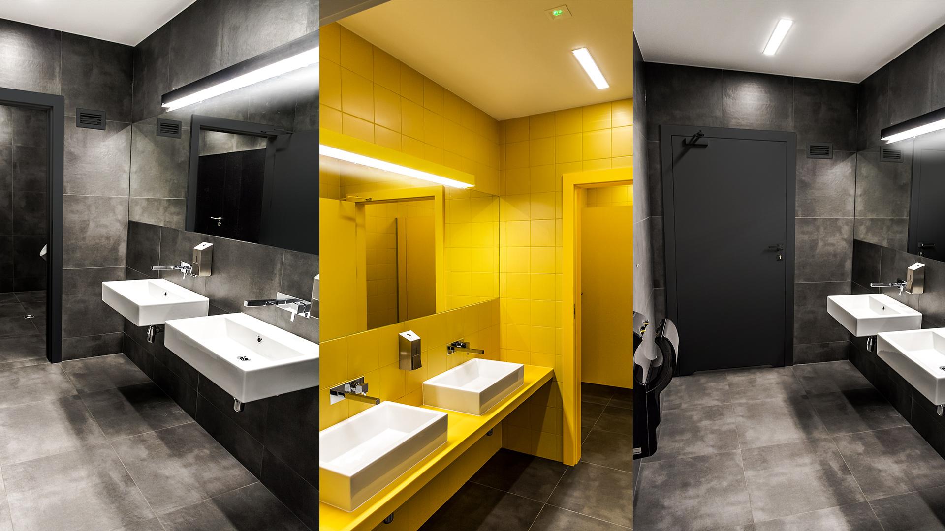 Damskie toalety dla pracowników wyróżnia energetyczna, żywa kolorystyka, a męskie – pełen elegancji powściągliwy grafit.