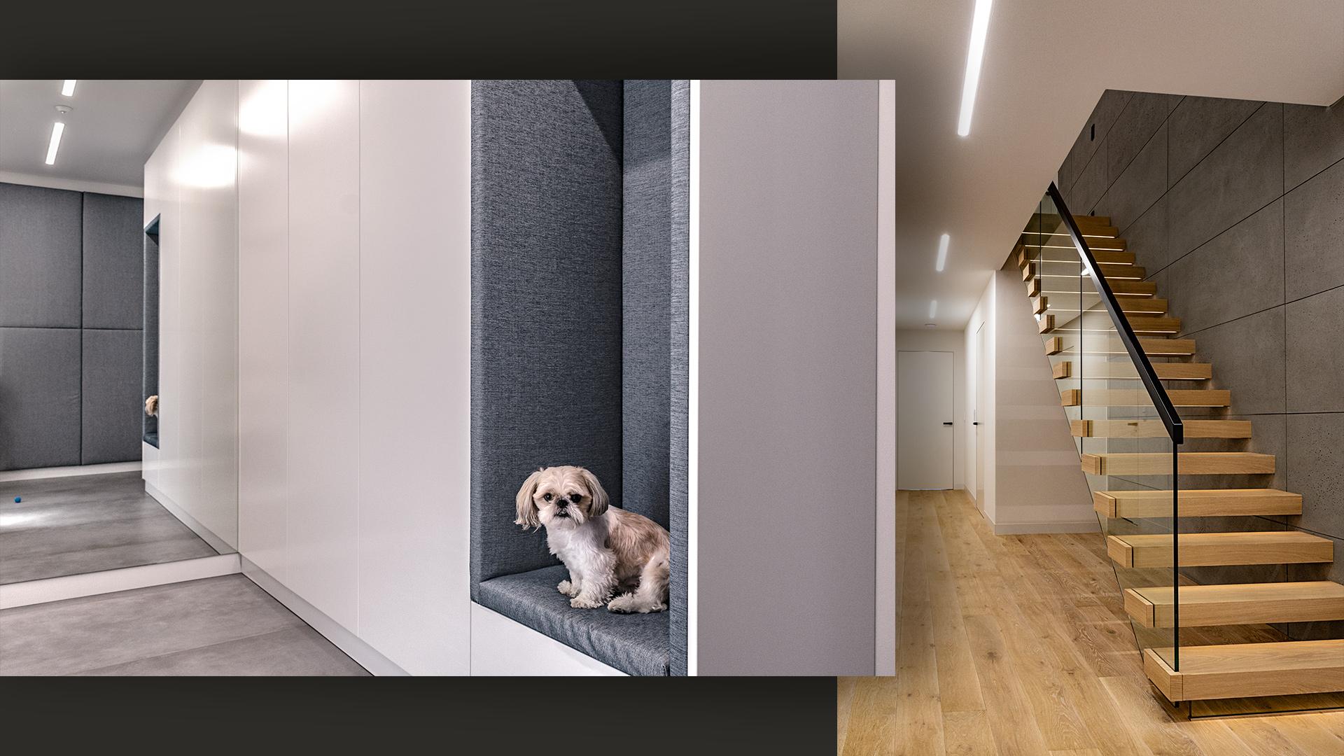 Po lewej – przedsionek z szafą na wymiar, gdzie umieściłyśmy tapicerowaną wnękędo siedzenia. Po prawej – bezpieczne schody drewniane ze szklaną balustradą i stopniami podświetlanymi LED.