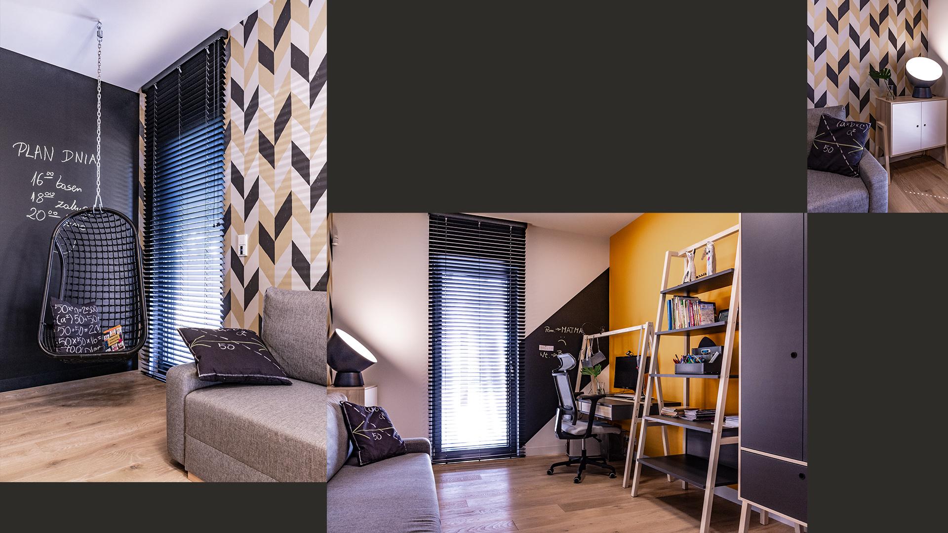 Dzienny pokój nastolatki jest pełen dynamizmu – zapewniają to geometryczna tapeta, podwieszana huśtawka i nasycone kolory.
