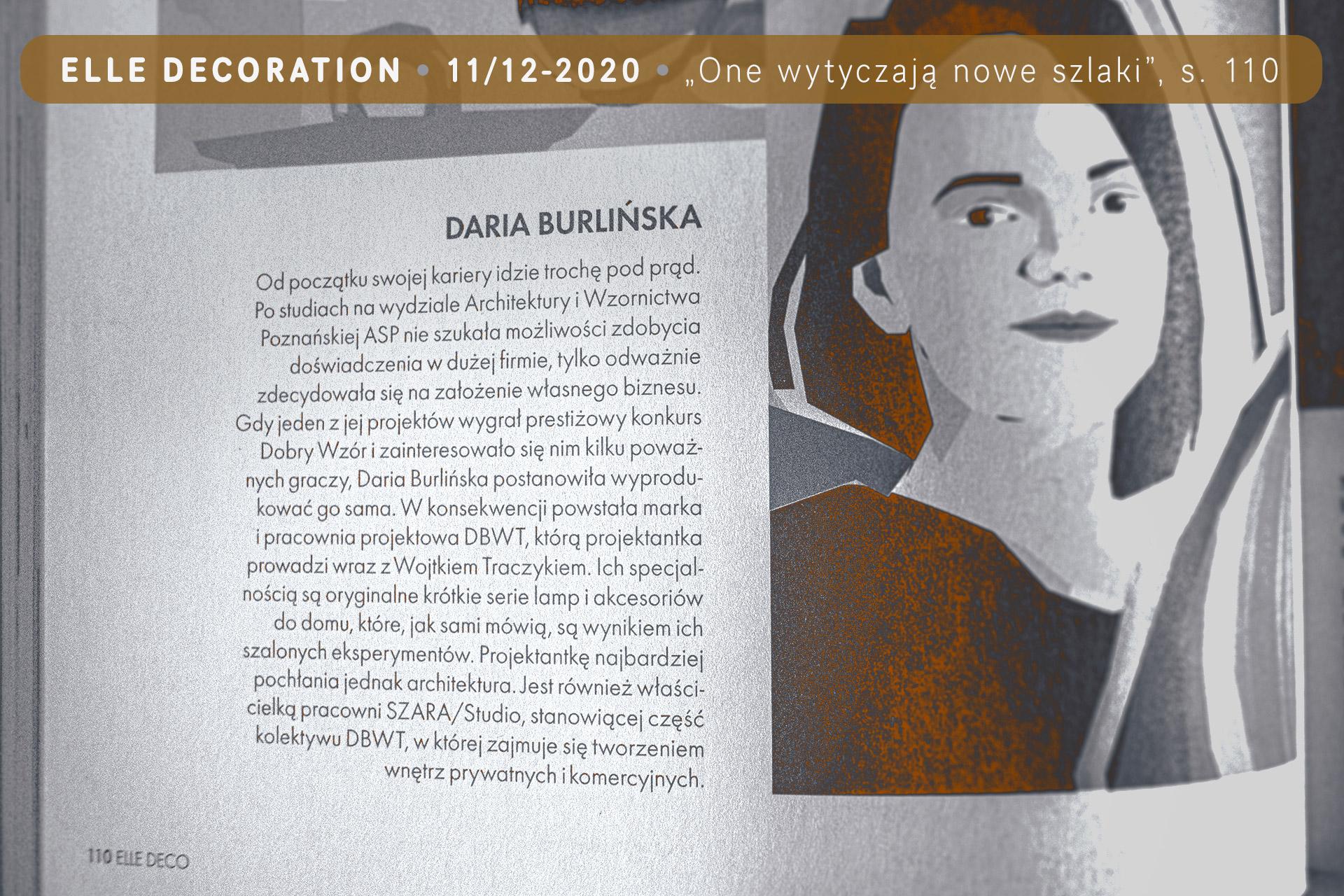 Daria Burlińska z pracowni SZARA-studio.pl – artykuł w «Elle Decoration» 11-12/2020